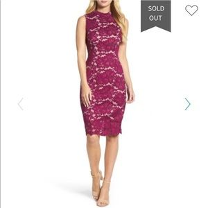 Adrianna Papell Berry Lace Cocktail Dress
